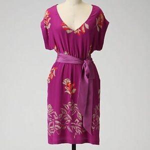Anthropologie Purple Silk Windfall Floral Dress